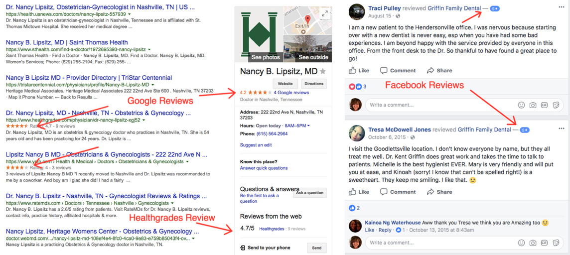 Google and Facebook Reviews