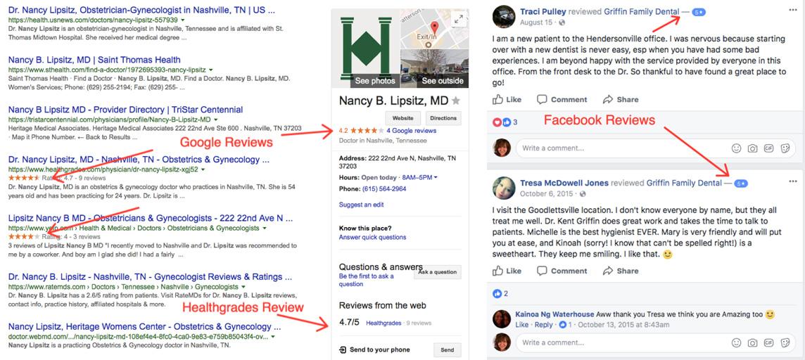 Google and Facebook Reviews