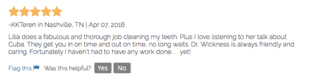 Positive Review For Dental